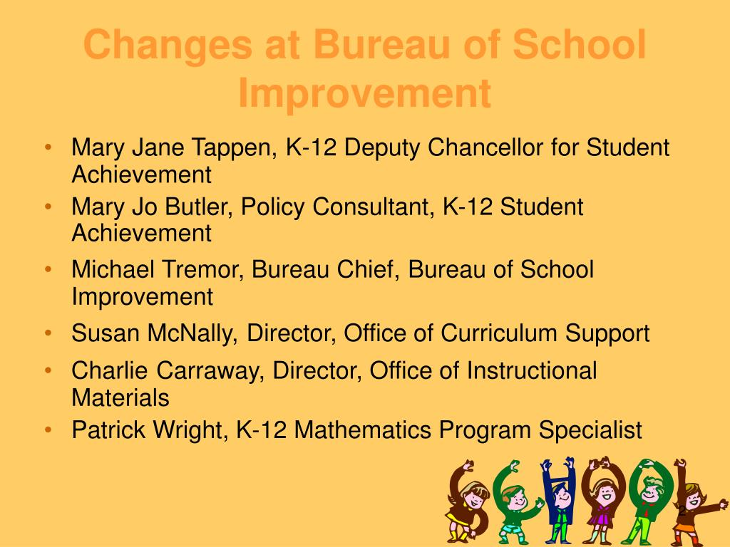 Changes at Bureau of School Improvement