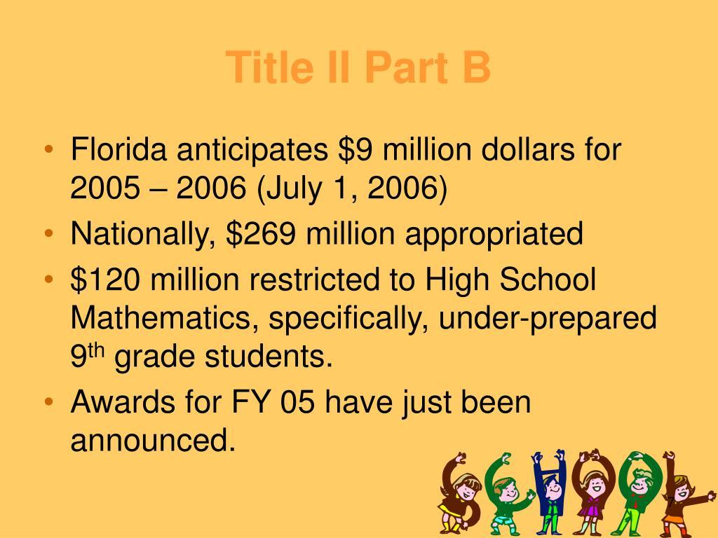 Title II Part B