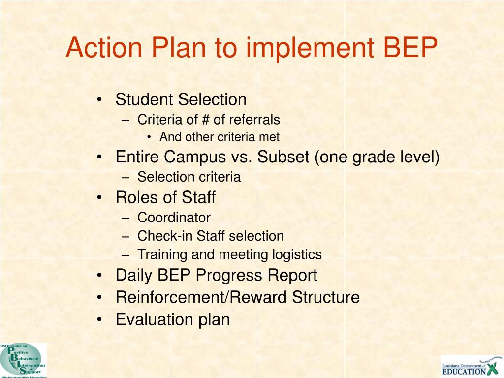 Action Plan to implement BEP