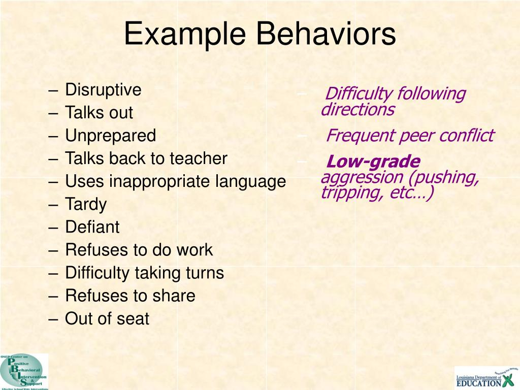 Example Behaviors