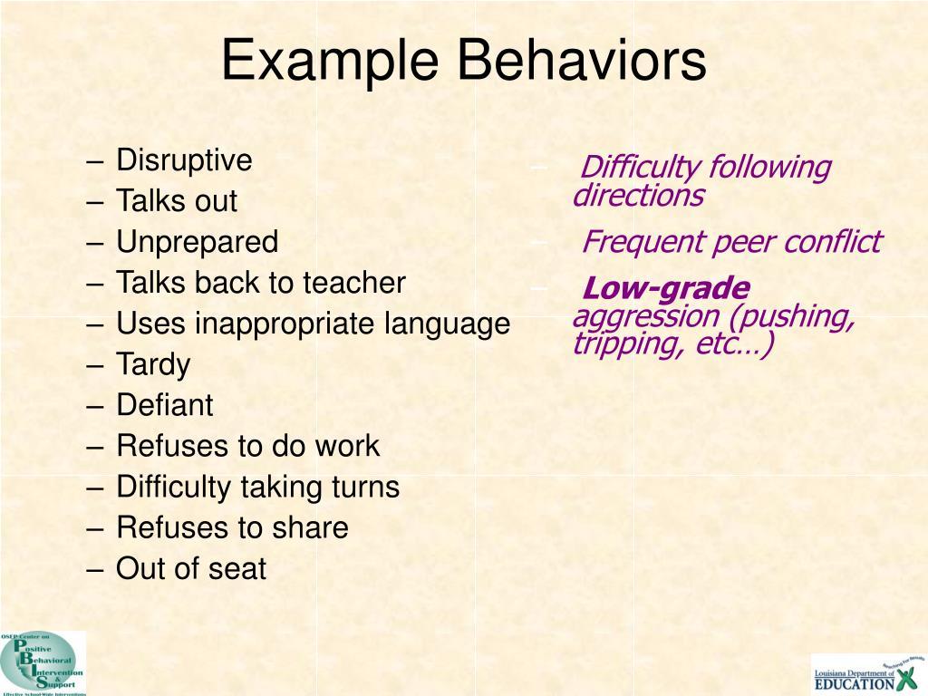 Example Behaviors
