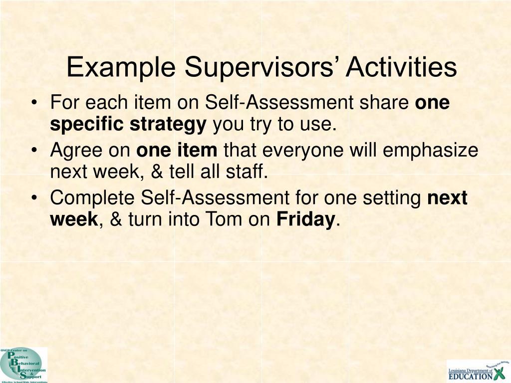 Example Supervisors' Activities