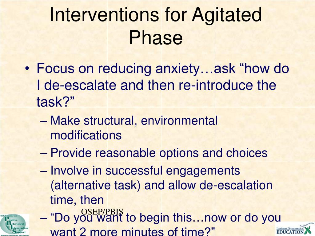 Interventions for Agitated Phase