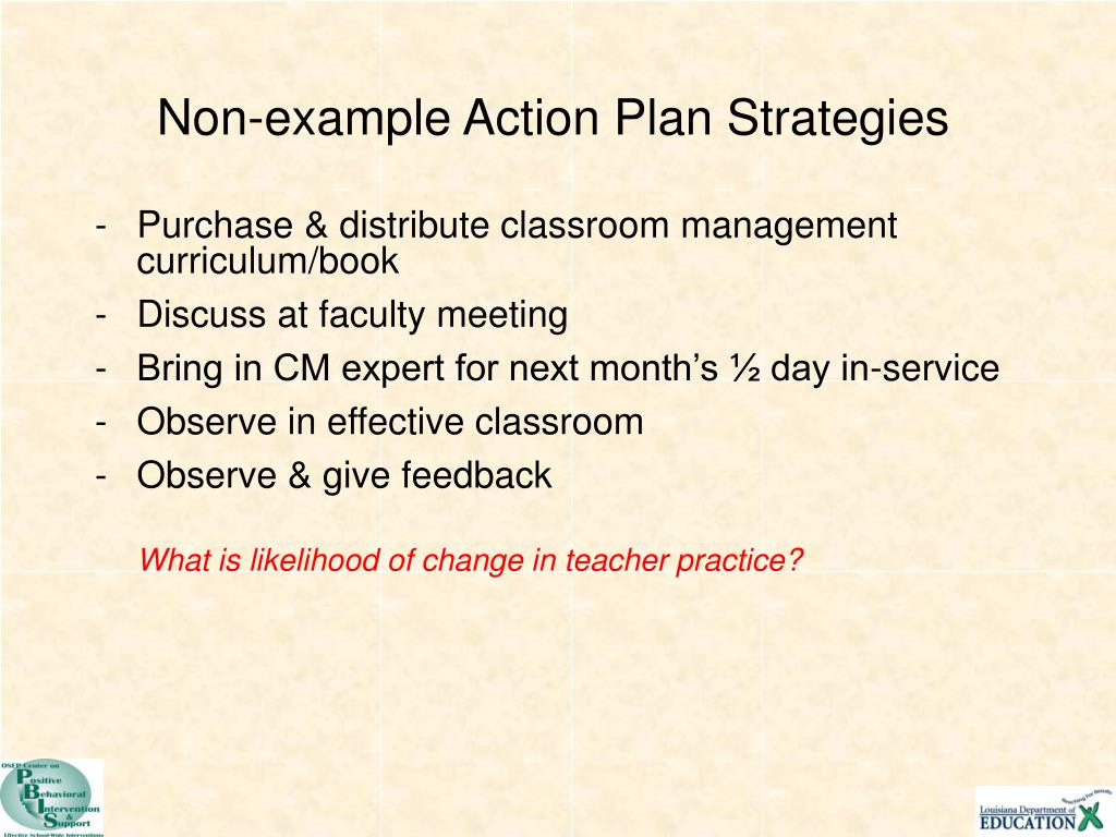 Non-example Action Plan Strategies