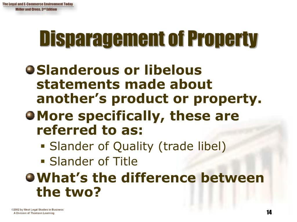 Disparagement of Property
