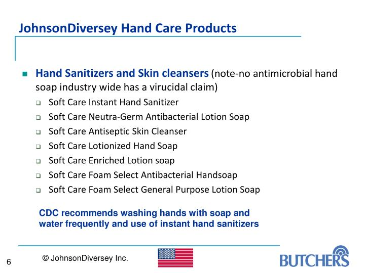 JohnsonDiversey Hand Care Products