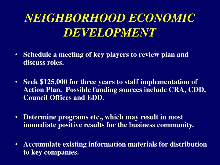 NEIGHBORHOOD ECONOMIC DEVELOPMENT