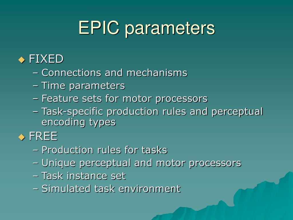 EPIC parameters