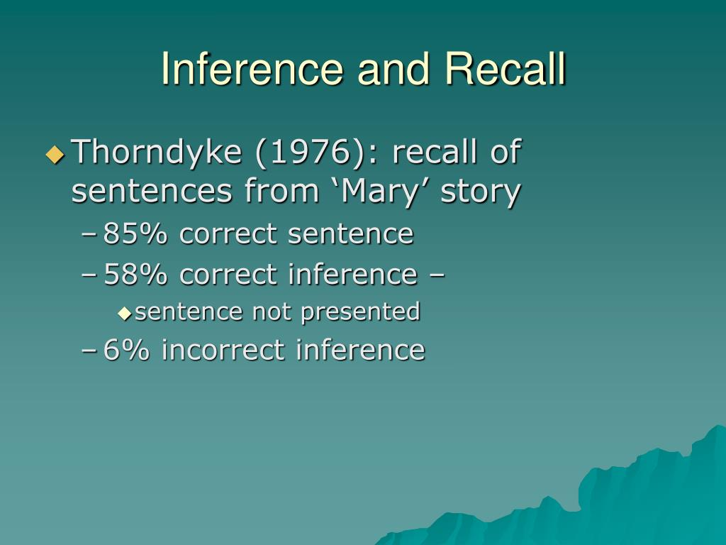 Inference and Recall