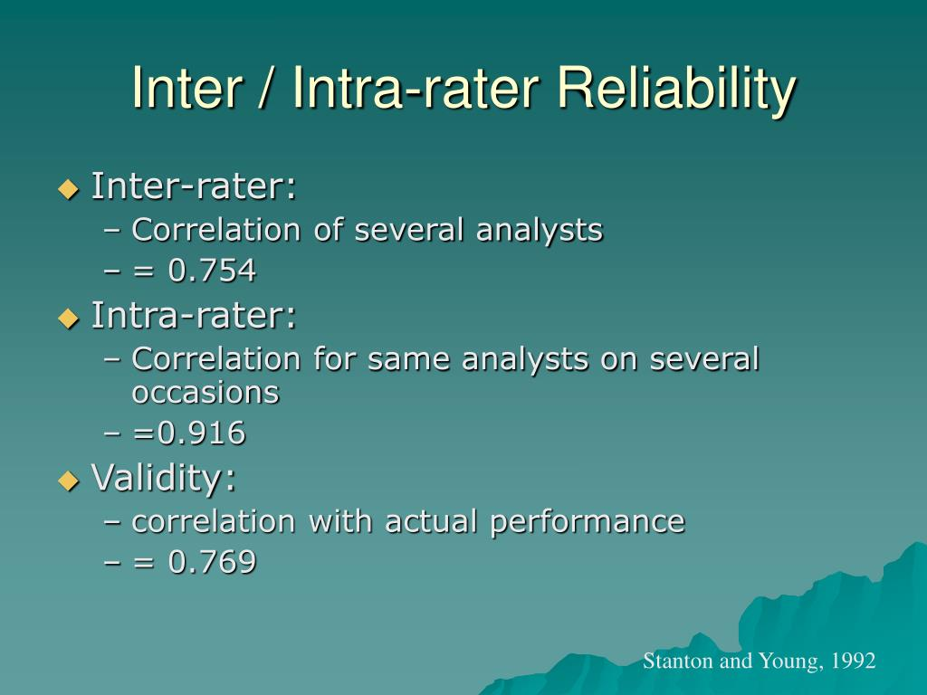 Inter / Intra-rater Reliability