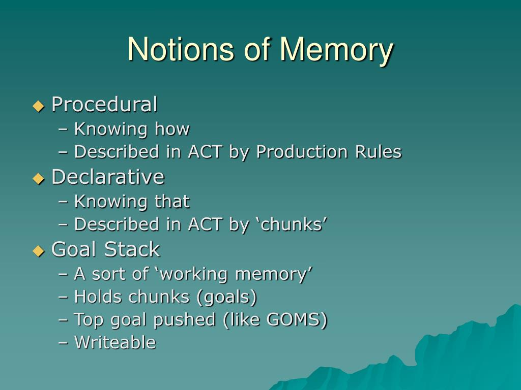 Notions of Memory