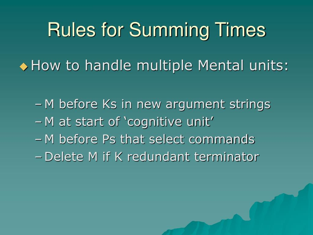 Rules for Summing Times