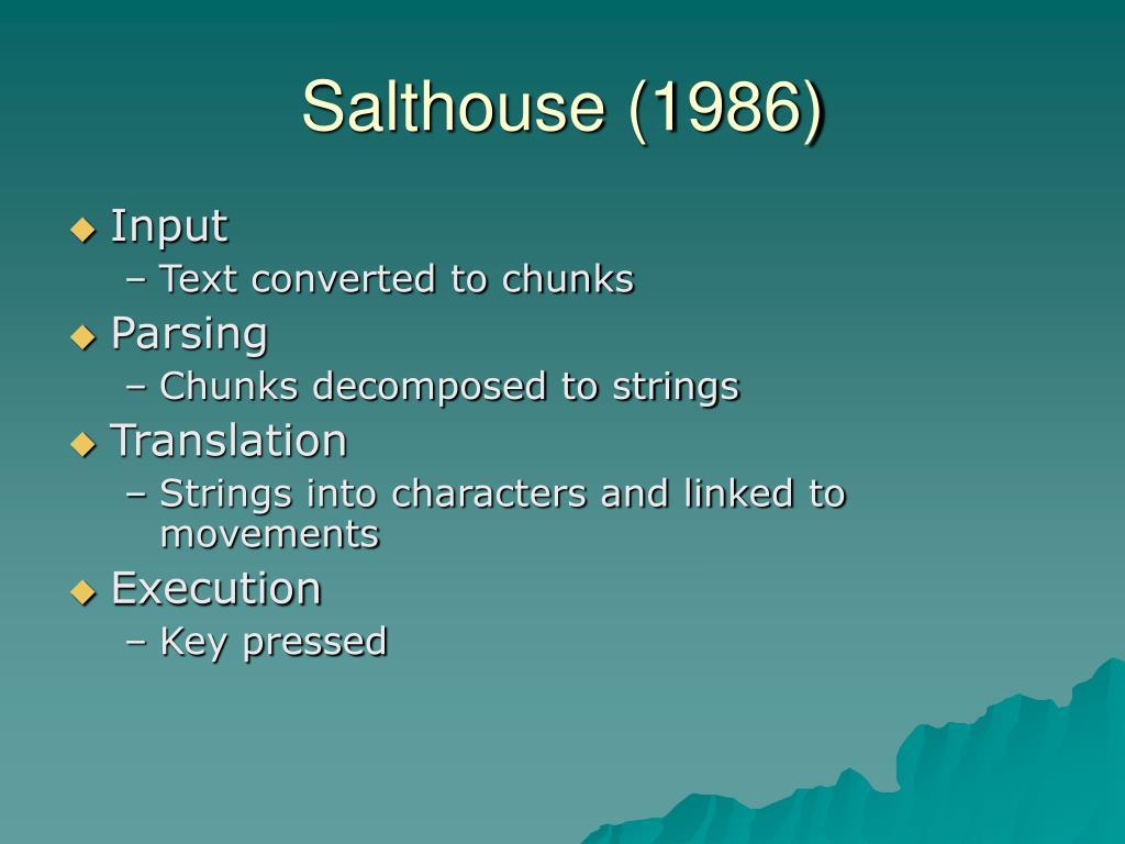 Salthouse (1986)