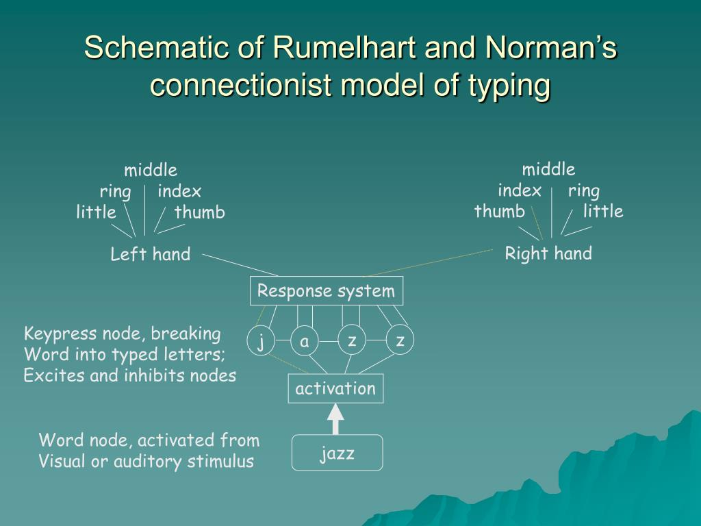 Schematic of Rumelhart and Norman's connectionist model of typing