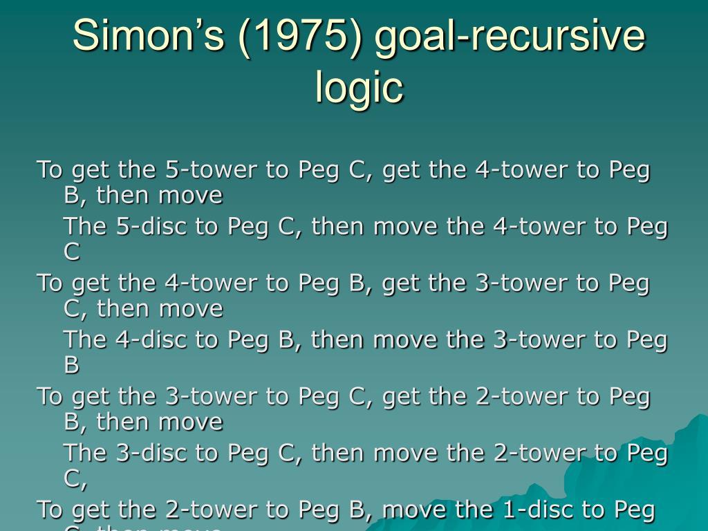 Simon's (1975) goal-recursive logic