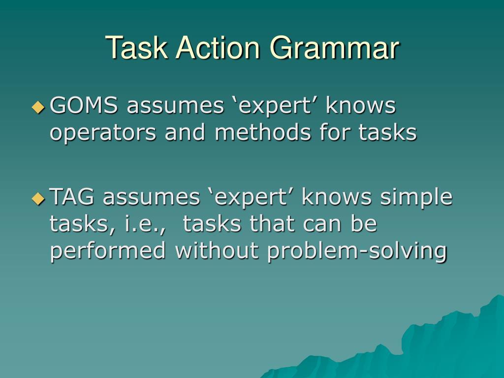 Task Action Grammar