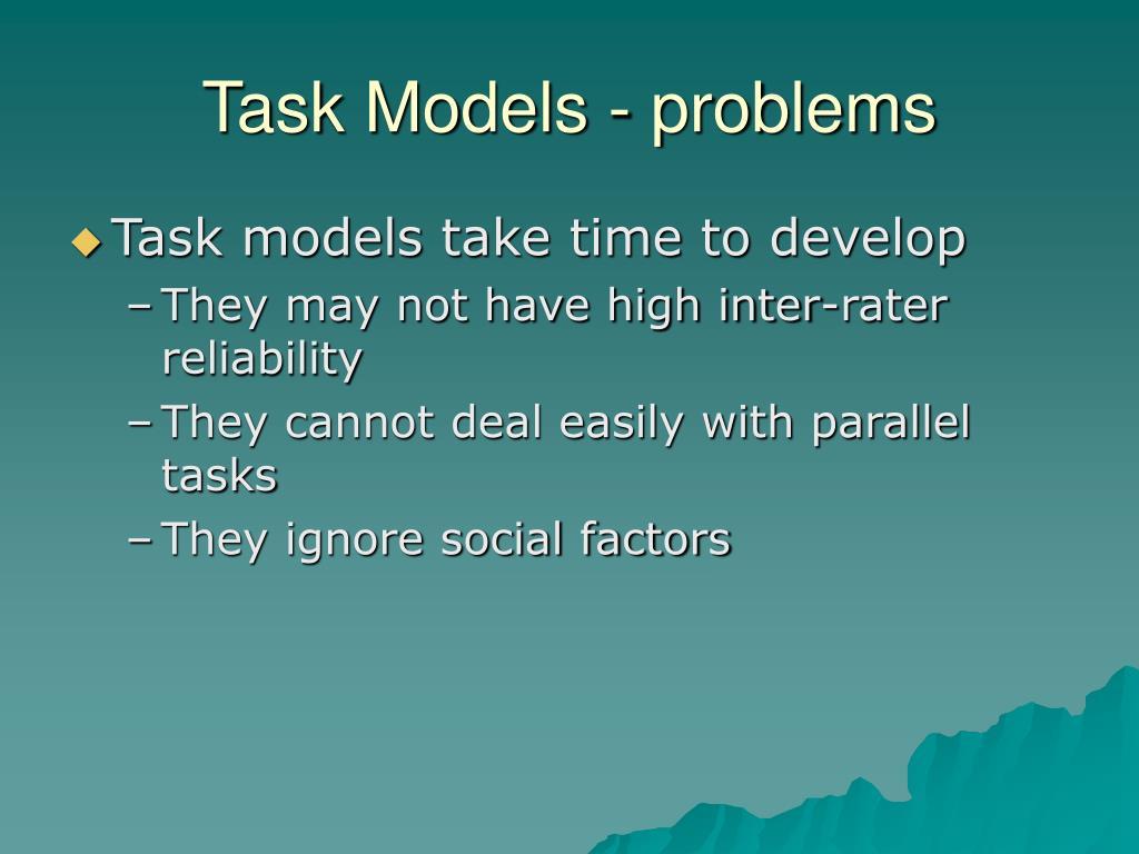 Task Models - problems