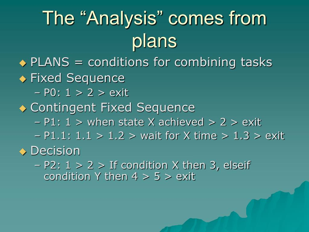 "The ""Analysis"" comes from plans"
