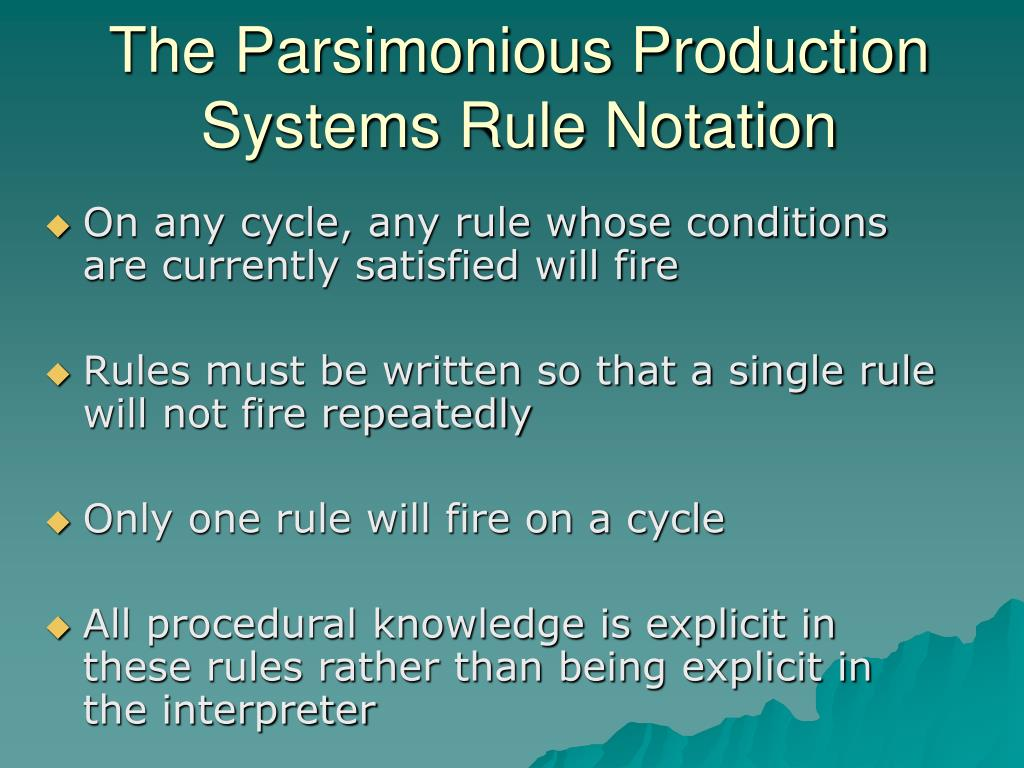 The Parsimonious Production Systems Rule Notation