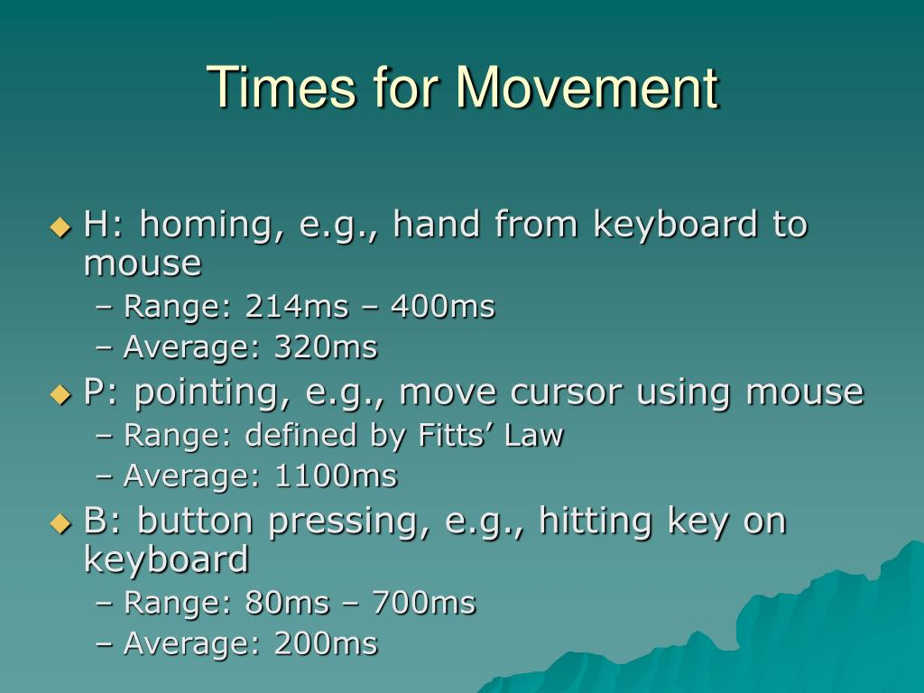 Times for Movement