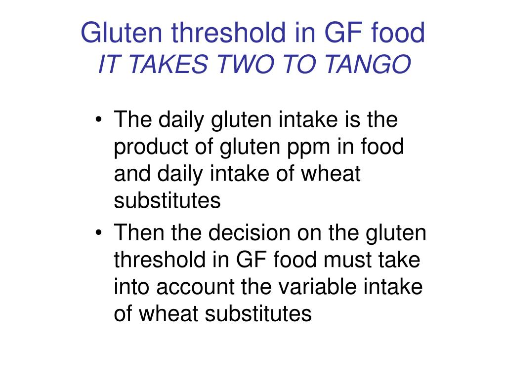 Gluten threshold in GF food