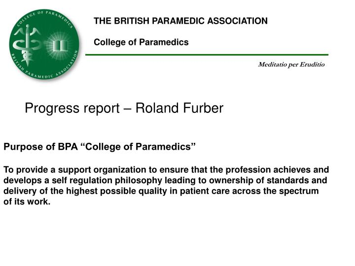 THE BRITISH PARAMEDIC ASSOCIATION