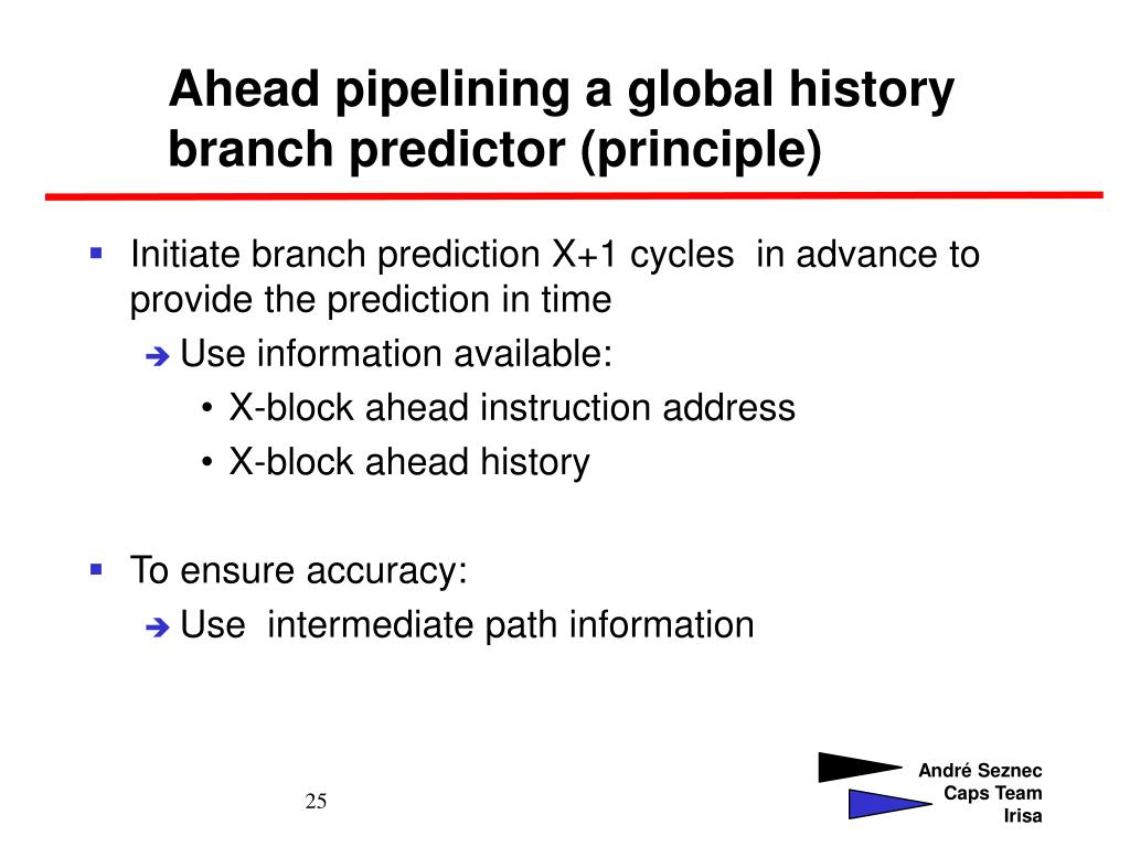 Ahead pipelining a global history branch predictor (principle)