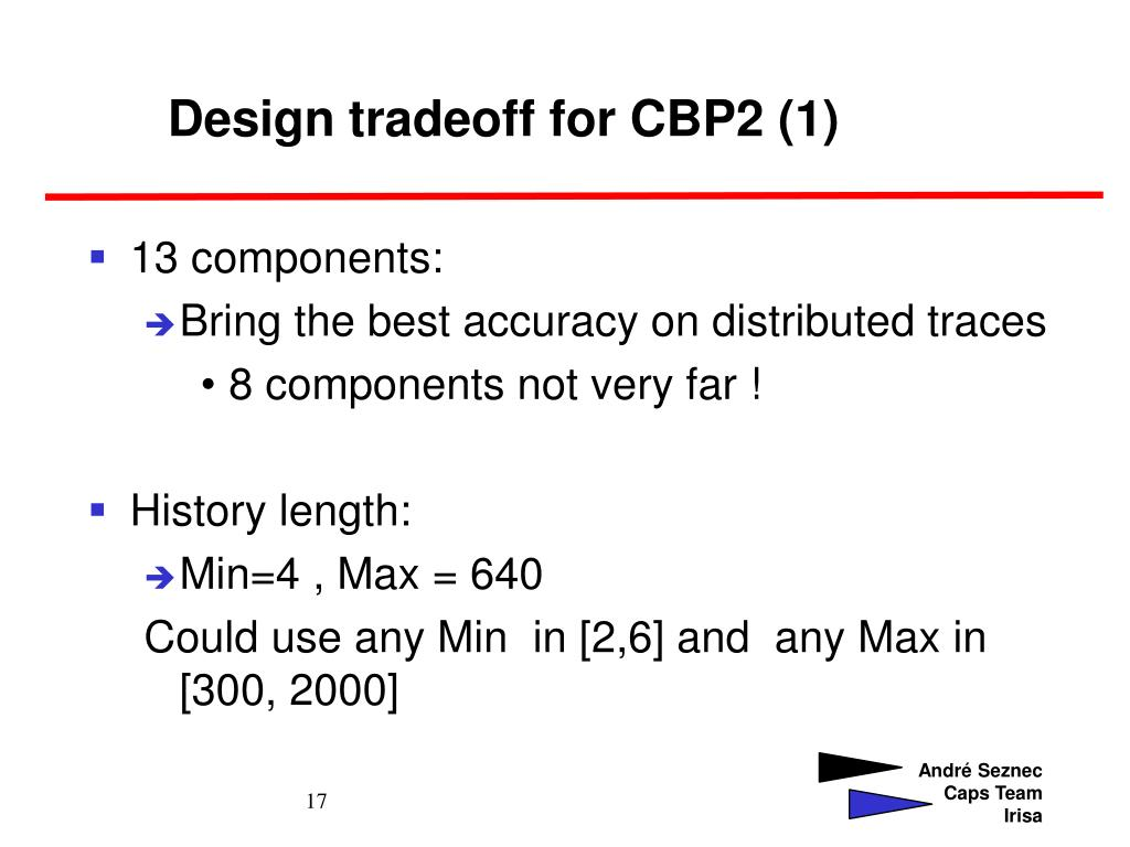 Design tradeoff for CBP2 (1)