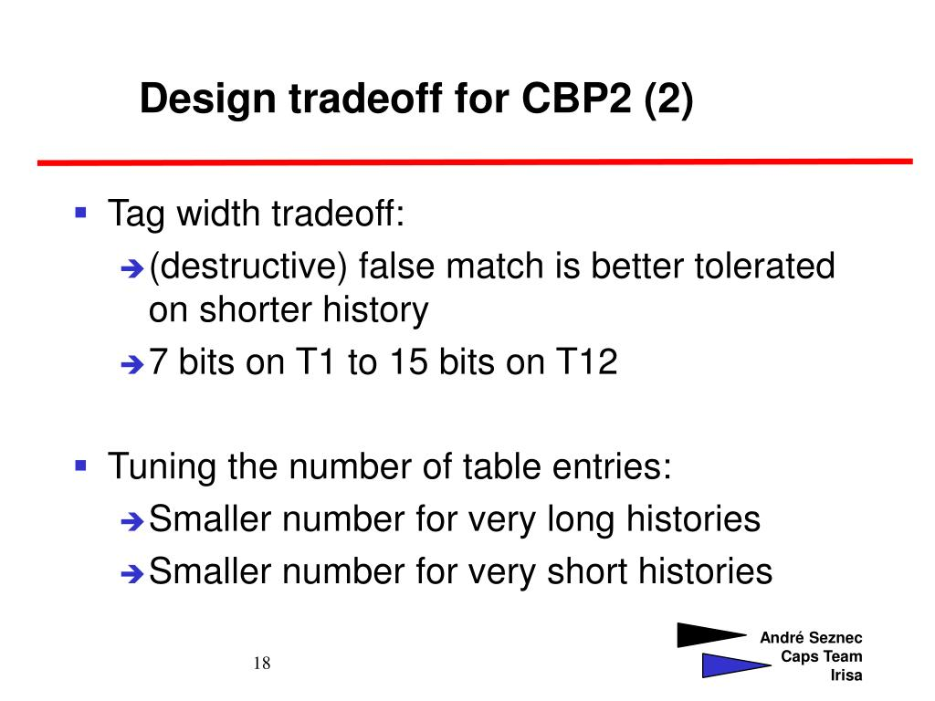 Design tradeoff for CBP2 (2)