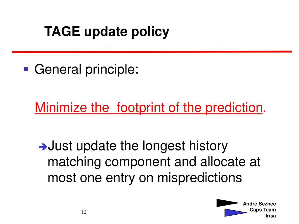 TAGE update policy