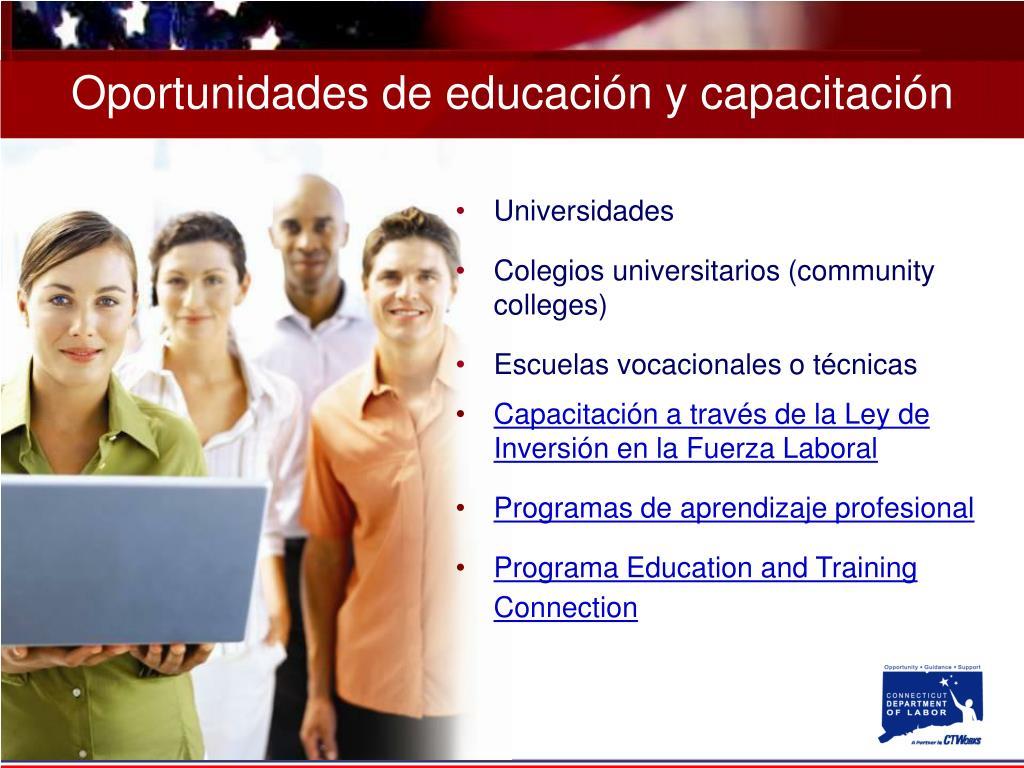 Oportunidades de educación y capacitación