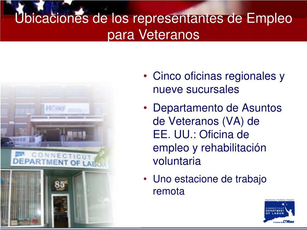 Ubicaciones de los representantes de Empleo para Veteranos