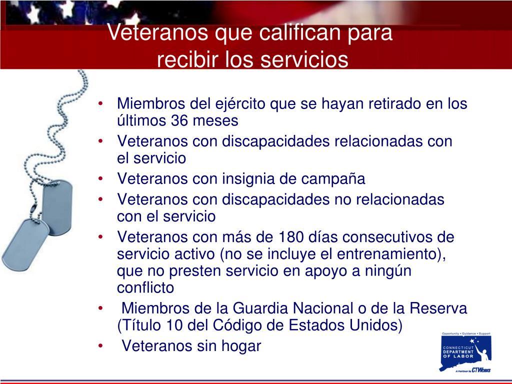 Veteranos que califican para