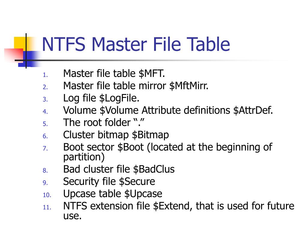 NTFS Master File Table