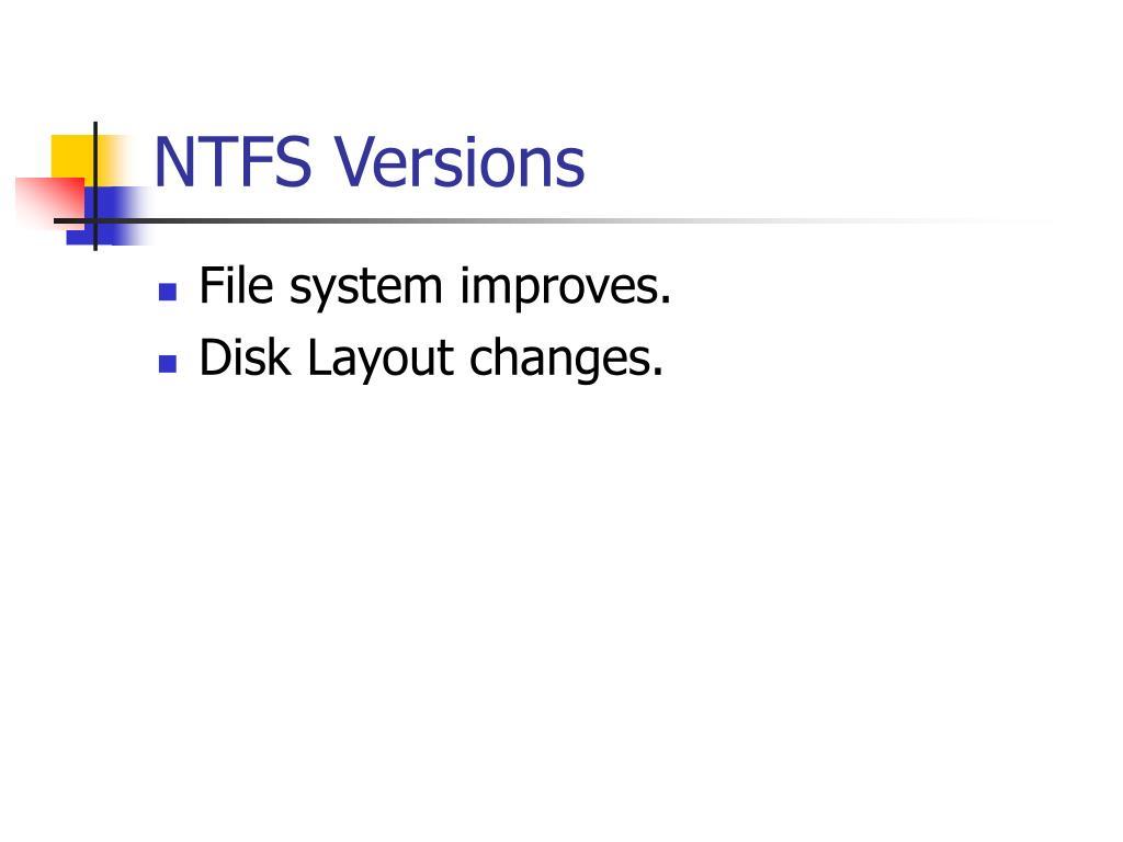 NTFS Versions