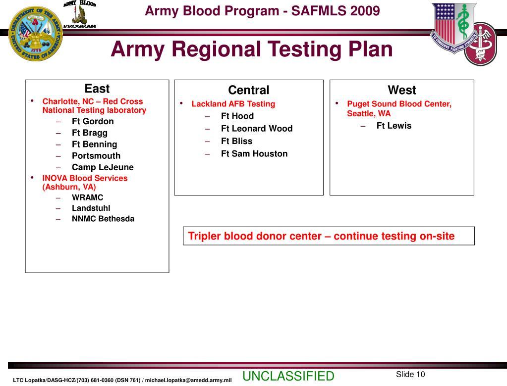 Army Regional Testing Plan