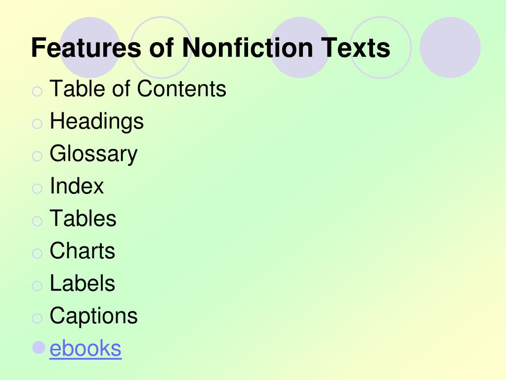 Features of Nonfiction Texts