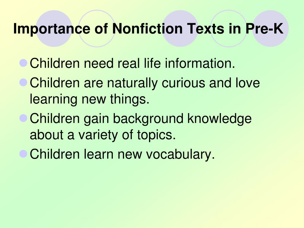 Importance of Nonfiction Texts in Pre-K