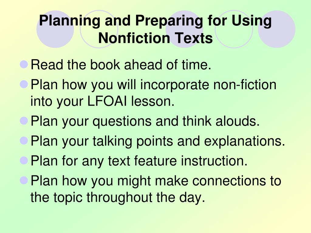 Planning and Preparing for Using        Nonfiction Texts