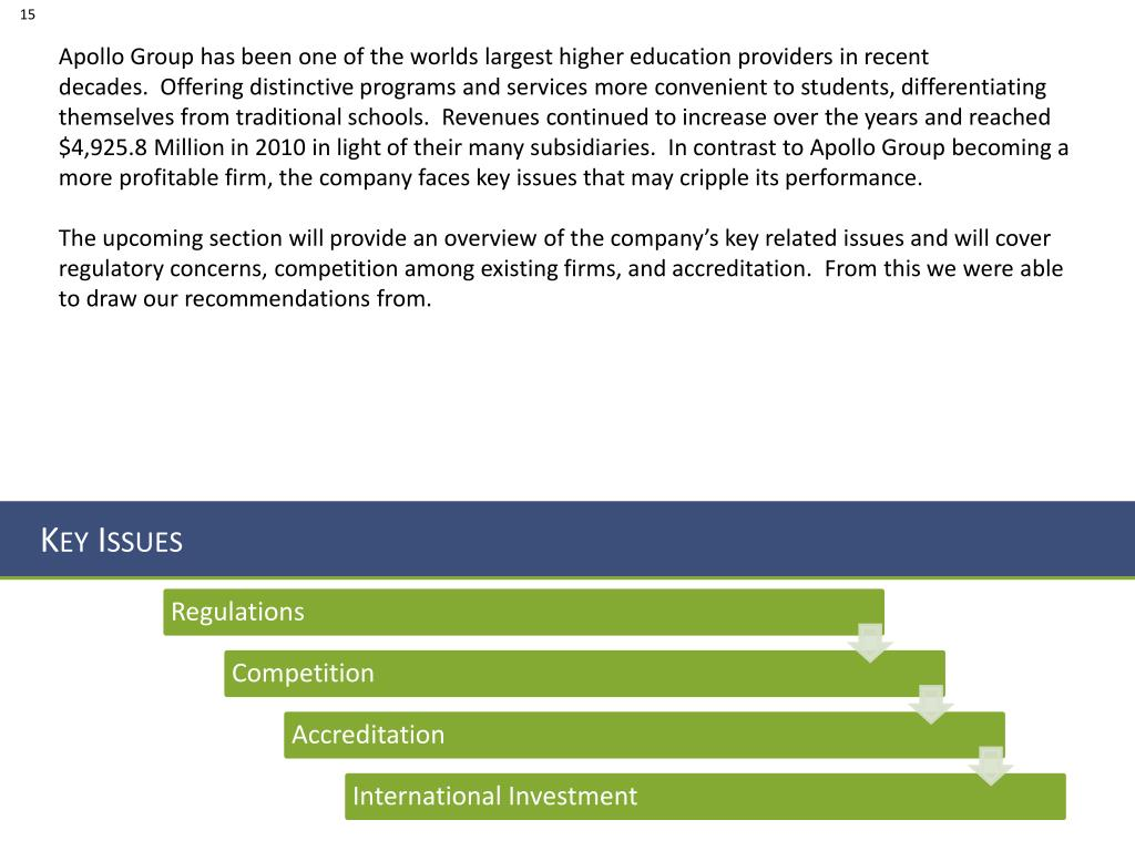 Apollo Group has been one of the worlds largest higher education providers in recent decades.  Offering distinctive programs and services more convenient to students, differentiating themselves from traditional schools.  Revenues continued to increase over the years and reached $4,925.8 Million in 2010 in light of their many subsidiaries.  In contrast to Apollo Group becoming a more profitable firm, the company faces key issues that may cripple its performance.