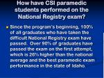 how have csi paramedic students performed on the national registry exam