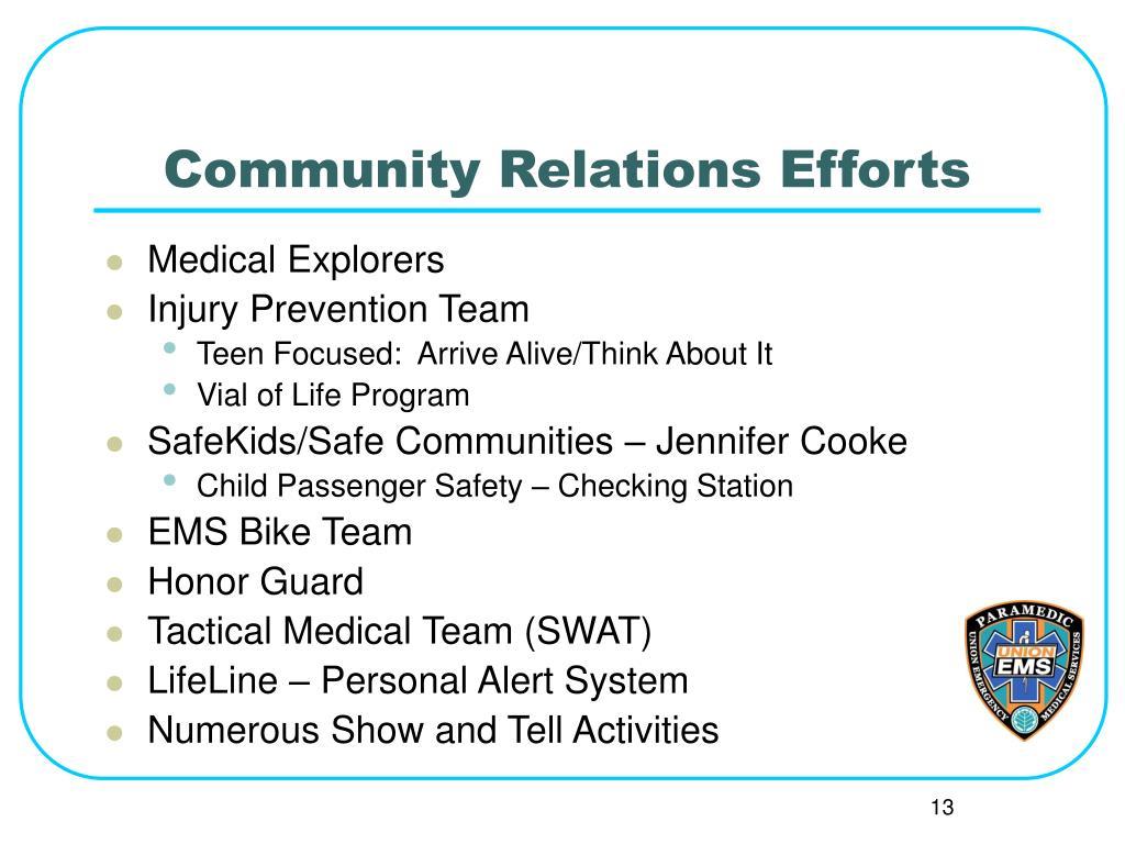 Community Relations Efforts