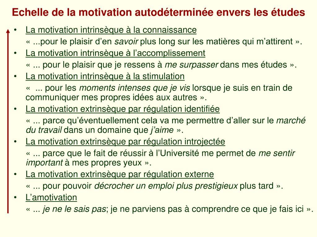 Echelle de la motivation autodéterminée envers les études