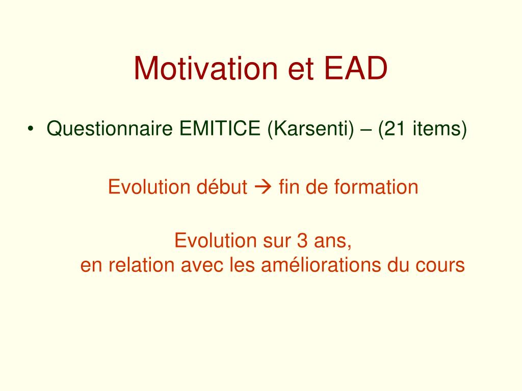 Motivation et EAD