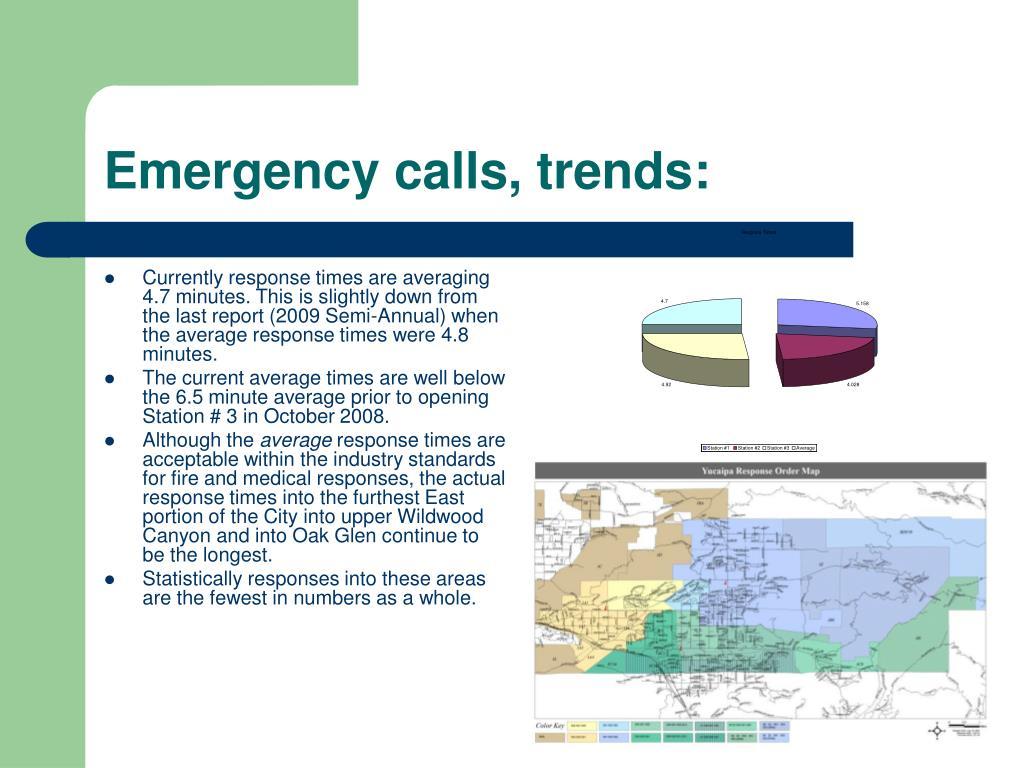 Emergency calls, trends: