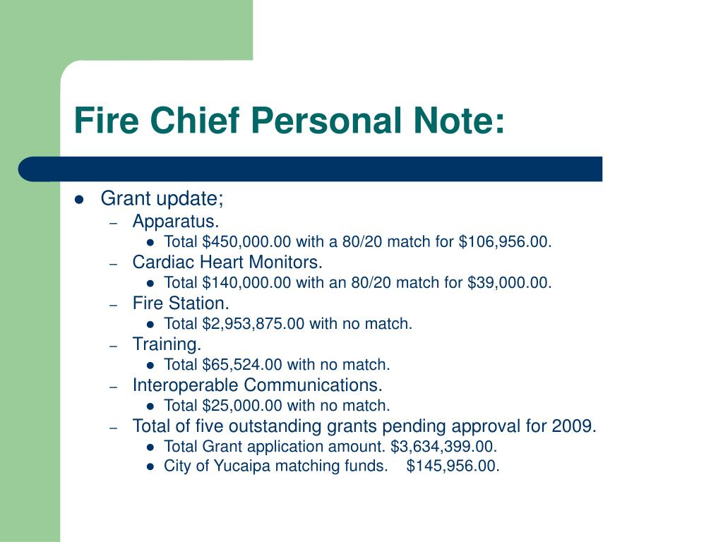 Fire Chief Personal Note: