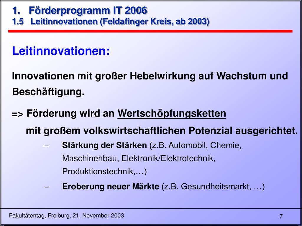 1.   Förderprogramm IT 2006