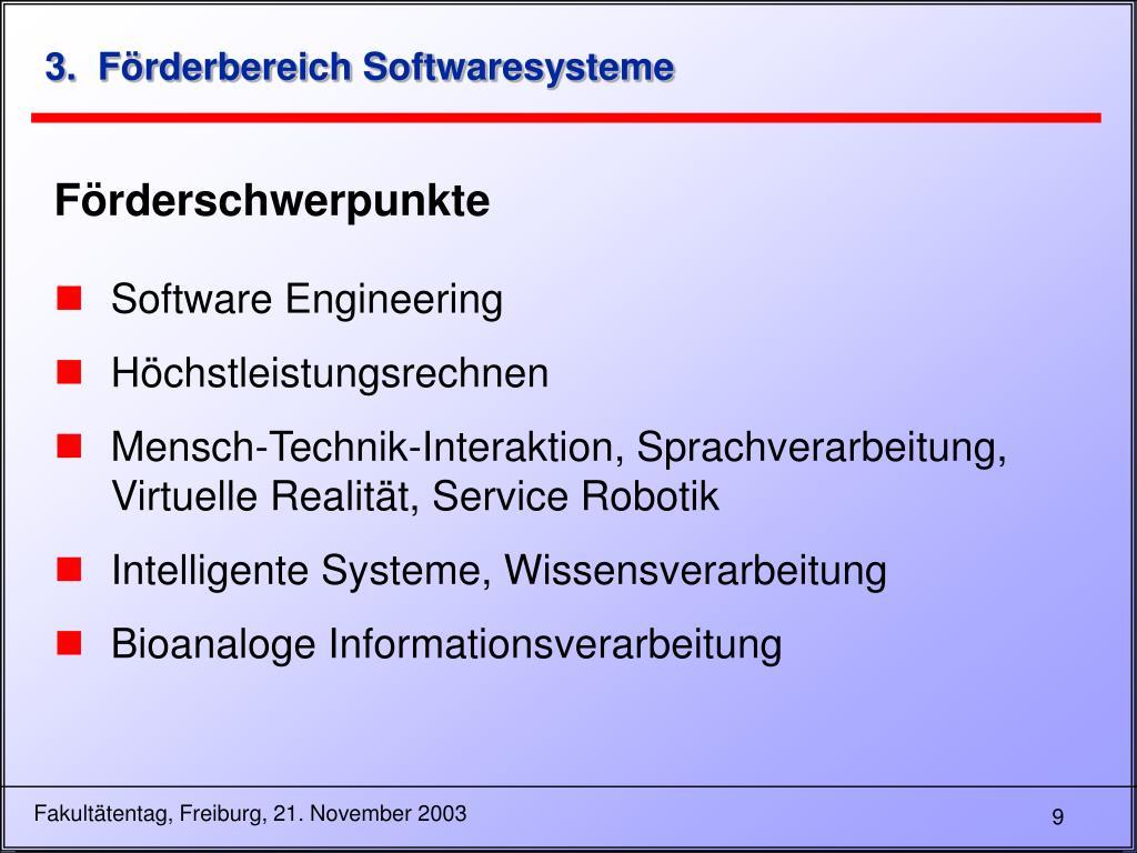 3.  Förderbereich Softwaresysteme