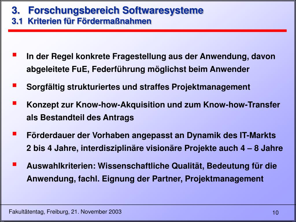 3.   Forschungsbereich Softwaresysteme