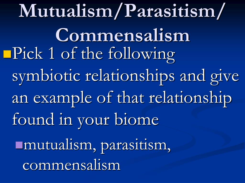 Mutualism/Parasitism/Commensalism